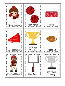 Cheerleaders (Red and Black) themed Three Part Matching preschool printable.