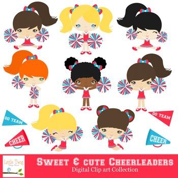 Cheerleaders Series 1 Digital Clipart, clip art