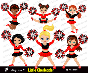 Cheerleaders Set Red, Black and White for -Personal and Commercial Use