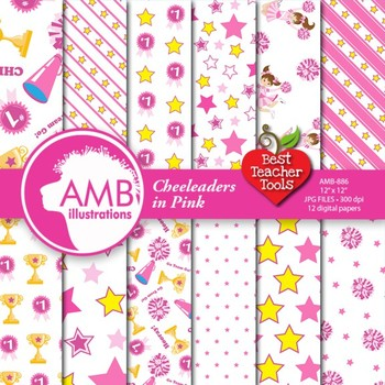 Digital Papers - Cheerleaders digital paper in Pink, AMB-886