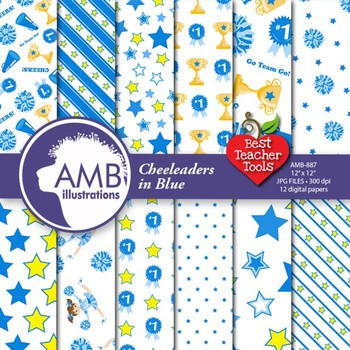 Digital Papers - Cheerleaders digital paper in Blue, digital backgrounds AMB-887