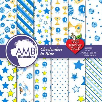 Cheerleaders Digital Papers in Blue, Sports Digital Backgrounds AMB-887