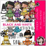 Cheerleaders clip art - BLACK AND WHITE- by Melonheadz