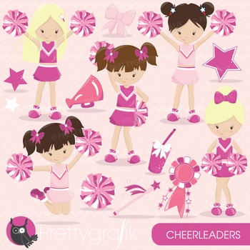 Cheerleaders clipart commercial use, vector graphics, digital - CL652