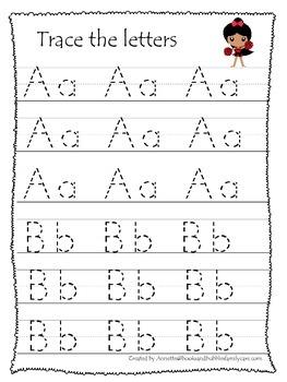 Cheerleaders themed A-Z Tracing preschool printable worksheets. Daycare