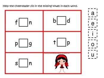 Cheerleaders themed CVC #1 preschool printable activity. H