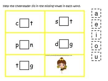 Cheerleaders themed CVC #3 preschool printable activity. Homeschool.