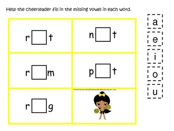 Cheerleaders themed CVC #4 preschool printable activity. Homeschool.
