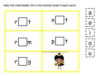 Cheerleaders themed CVC #4 preschool printable activity. H