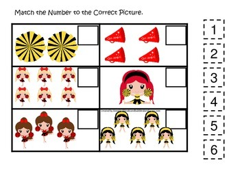 Cheerleaders themed Fill in the Match the Number preschool printable activity.