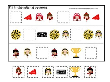 Cheerleaders themed Fill in the Missing Pattern preschool printable activity.