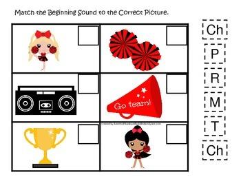 Cheerleaders themed Match the Beginning Sound preschool printable activity.