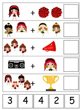 Cheerleaders themed Math Addition preschool printable activity.  Daycare curricu