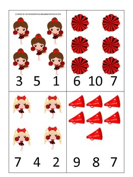Cheerleaders themed Math Count and Clip Cards preschool printable activity.