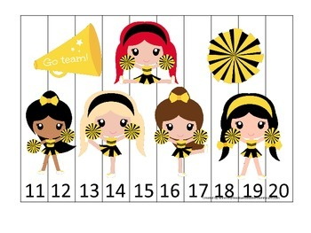 Cheerleaders themed Number Sequence Puzzle 11-20 preschool printable activity.