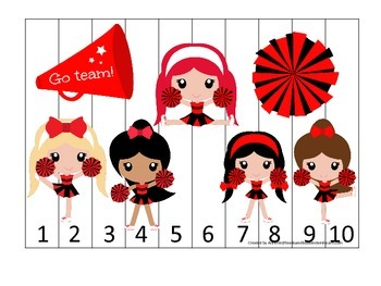 Cheerleaders themed Number Sequence Puzzle preschool printable activity. Daycare