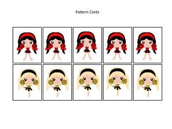 Cheerleaders themed Pattern Cards #2 preschool printable activity. Homeschool.