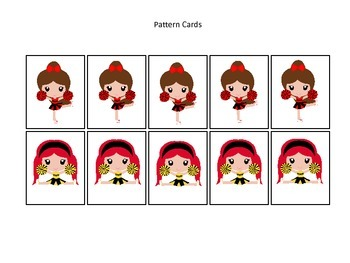 Cheerleaders themed Pattern Cards #3 preschool printable activity. Homeschool.