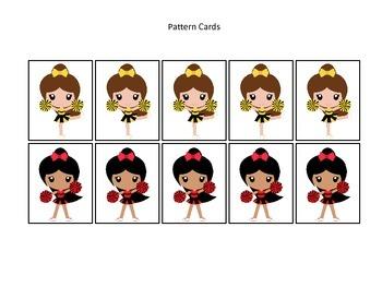 Cheerleaders themed Pattern Cards preschool printable activity.  Daycare curricu