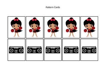 Cheerleaders themed Pattern Cards #4 preschool printable activity. Homeschool.