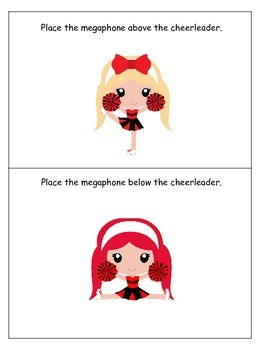 Cheerleaders themed Positional Cards preschool printable activity. Daycare