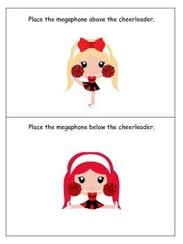 Cheerleaders themed Positional Cards preschool printable activity. Daycare