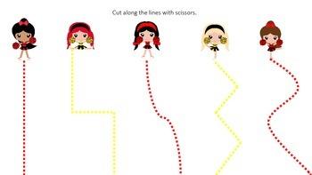 Cheerleaders themed Scissor Cutting preschool printable activity. Daycare