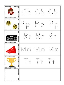 Cheerleaders themed Trace the Letter preschool printable activity. Daycare