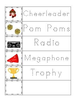 Cheerleaders themed Trace the Word preschool printable act