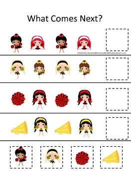 Cheerleaders themed What Comes Next preschool printable activity. Daycare.