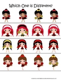 Cheerleaders themed Which One is Different preschool printable activity. Daycare