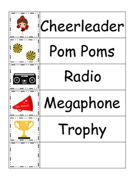 Cheerleaders themed Word Wall theme for daycare school weekly theme.
