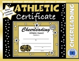 Cheerleading Certificate - Black and Gold Theme Colors - Editable