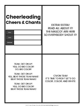 Cheerleading Cheers and Chants Cards