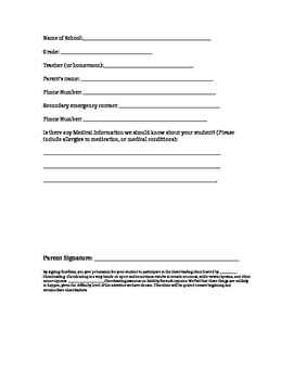 Cheerleading Clinic Information and Participant form