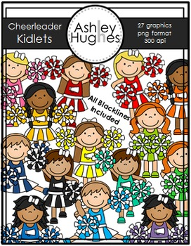 Cheerleading Kidlets Clipart {A Hughes Design}