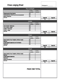 Cheerleading Tryout Judging Sheet