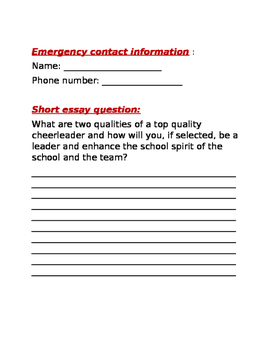 Cheerleading try out forms with essay