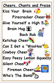 Cheers, Chants and Praise Poster Primary Classroom Management Teacher Tool 11x17