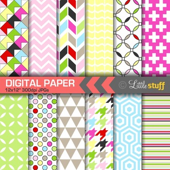 Cheery, Bright Geometric Digital Papers
