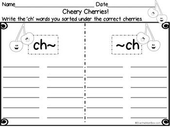 Cheery Cherries CH Digraph Sort Word Work Center
