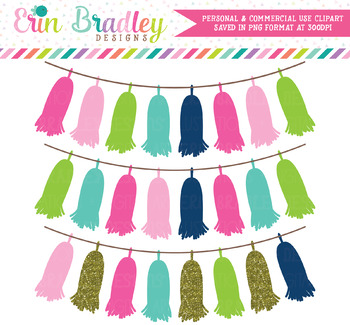 Cheery Day Tassel Banners Clipart