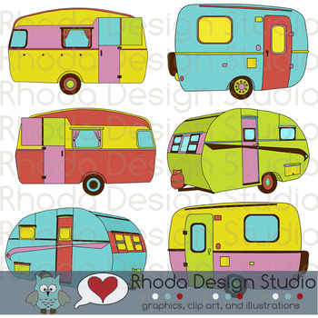 Cheery Vintage Camper Trailers Clipart