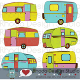 Cheery Vintage Camper Trailers Clip Art (RDS Clipart)