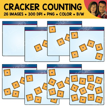 Cheese Cracker Snack Counting Scene Clipart