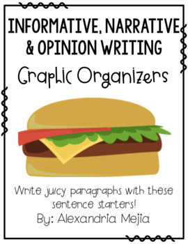 Cheeseburger Graphic Organizers - 3 Types of Writing