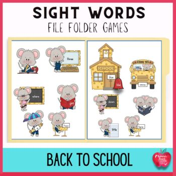 Back to School Sight Word File Folder Games: Cheesy Mouse School