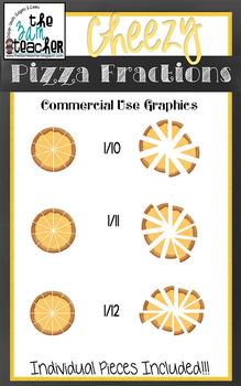 Cheesy Pizza Fractions - Mega Clipart Set!!
