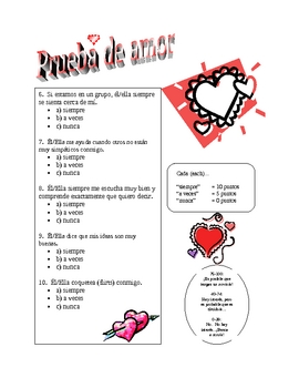 Cheesy Valentines Day LOVE QUIZ -- Spanish