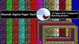 Cheetah Digital Paper and Matching Borders Frames Backgrounds Clip Art